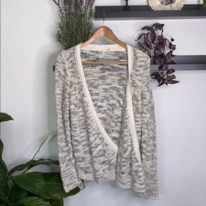 Anthropologie • moth gray/ Creme cardigan size M